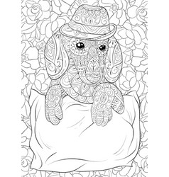 Adult coloring bookpage a cute dog on the pillow vector
