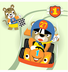 Animals racing car competition cartoon vector