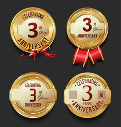 Anniversary retro golden labels collection 3 years vector