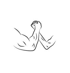 Arm wrestling or armwrestling sport outline vector