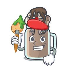 Artist milkshake character cartoon style vector