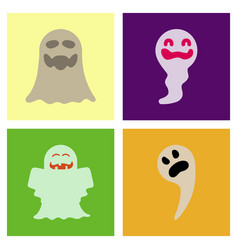 assembly flat icons halloween ghost vector image