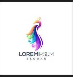 awesome peacock logo design vector image