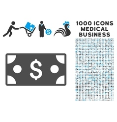 Banknote Icon with 1000 Medical Business vector image