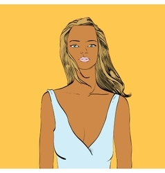 Beautiful tanned woman in swimsuit vector
