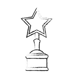Blurred silhouette image trophy with symbol star vector
