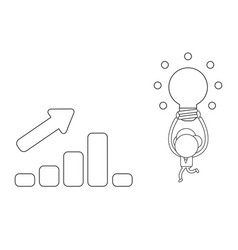 businessman character carrying glowing light bulb vector image