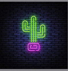 cactus neon sign in retro style on light vector image