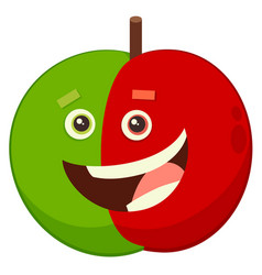 Cartoon apple fruit character vector