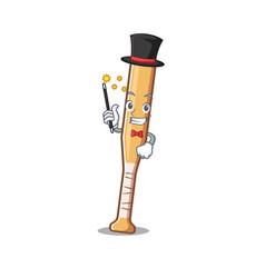 Cartoon baseball bat with magician character vector