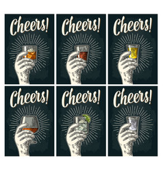 cheers lettering hand hold glass brandy tequila vector image