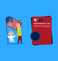 Children hold united states flag independence day vector