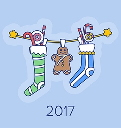 Christmas Stockings and Sweets. vector image