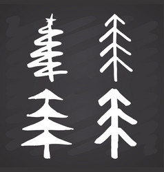 christmas tree hand drawn set pine trees vector image