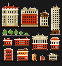 city building flat style icons set vector image