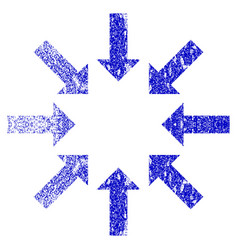 Collapse arrows grunge textured icon vector