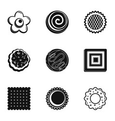 Cookie icons set simple style vector