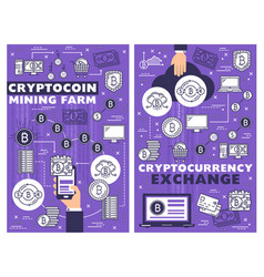 crypto coin mining farm cryptocurrency exchange vector image