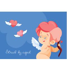 cupid hunting with archey bow flying hearts cupid vector image