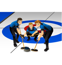 Curling athletes competing vector