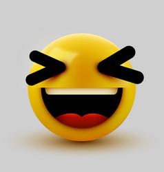 Cute 3d smiling grinning emoticon emoji smiley vector
