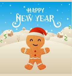 cute cartoon gingerbread character happy new year vector image