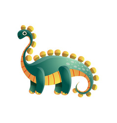 cute green colorful stegosaurus dinosaur from vector image