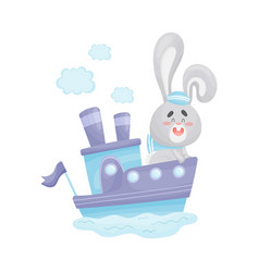 Cute hare swims on steamship vector