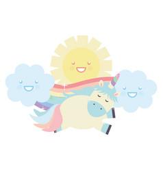 cute unicorn in rainbow with clouds and sun kawaii vector image
