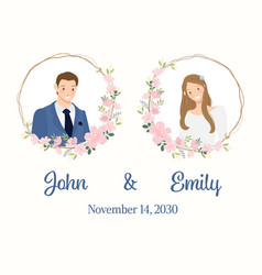 cute young wedding couple with cherry blossom vector image