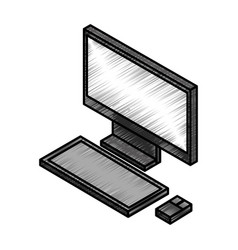 Desktop computer isometric icon vector