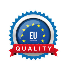 Eu - europe certified quality badge sign vector