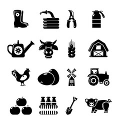 Farm agricultural icons set simple style vector