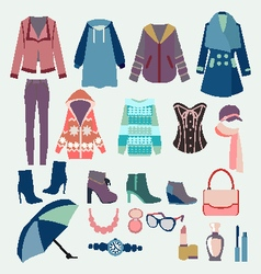 fashion winter collection of winter clothes vector image