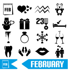 february month theme set of simple icons eps10 vector image