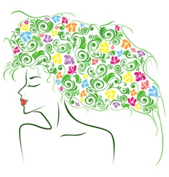 Female contour with colourful floral elements vector