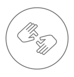 Finger language line icon vector