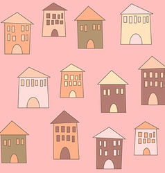 Flat cute houses in vintage style vector image