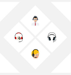 Flat hotline set of earphone call center help vector