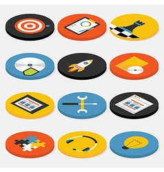 Flat Isometric Circle Website Business and Office vector image
