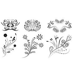 floral ornament design set vector image