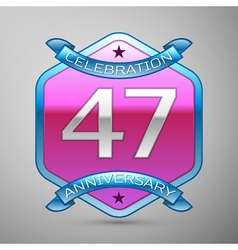 Forty seven years anniversary celebration silver vector