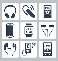gadgets icons set headphones wireless headset vector image