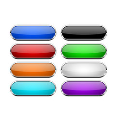 glass buttons set shiny oval colored 3d web icons vector image