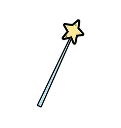 Grated magic wand stick to wizard object vector