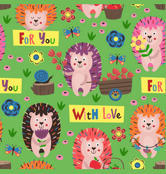 Green seamless pattern with colorful hedgehogs vector
