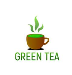 Green tea from cannabis hemp vector