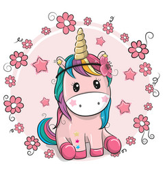 Greeting card unicorn with flowers on a pink vector
