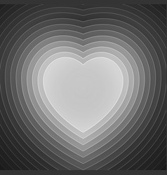 Grey and white paper layers heart shape vector