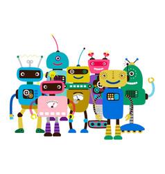 group cartoon character robots vector image